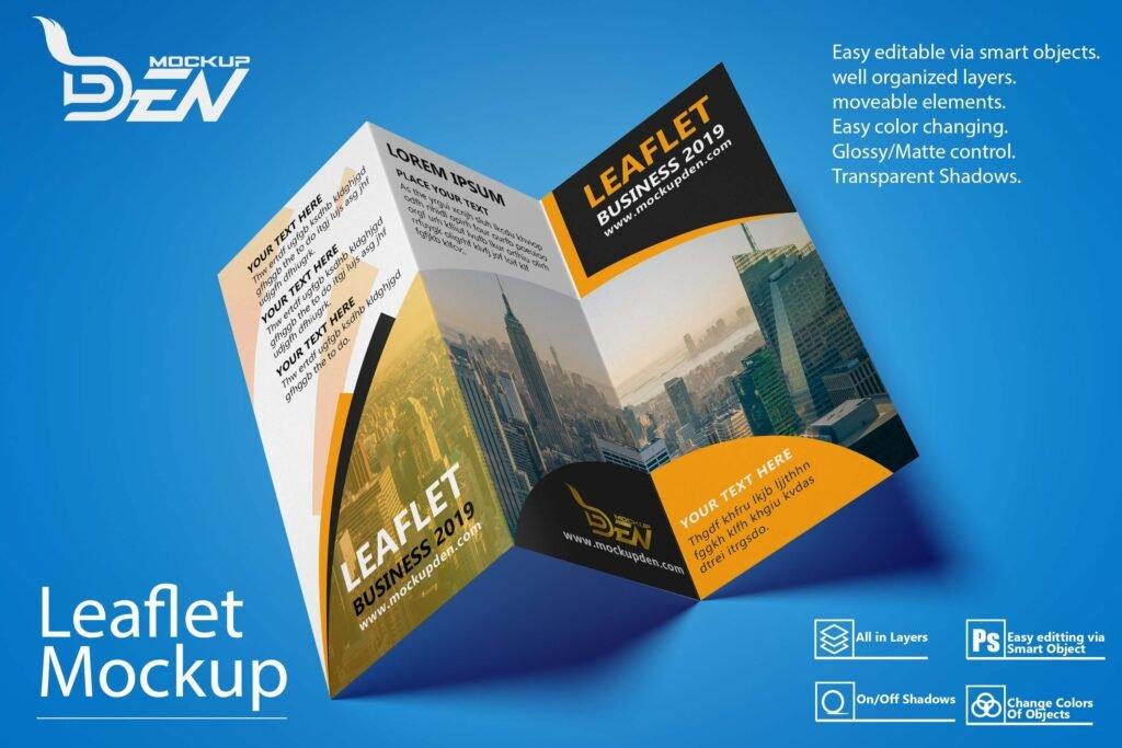 Free Tri Fold Leaflet Mockup | PSD Template 1