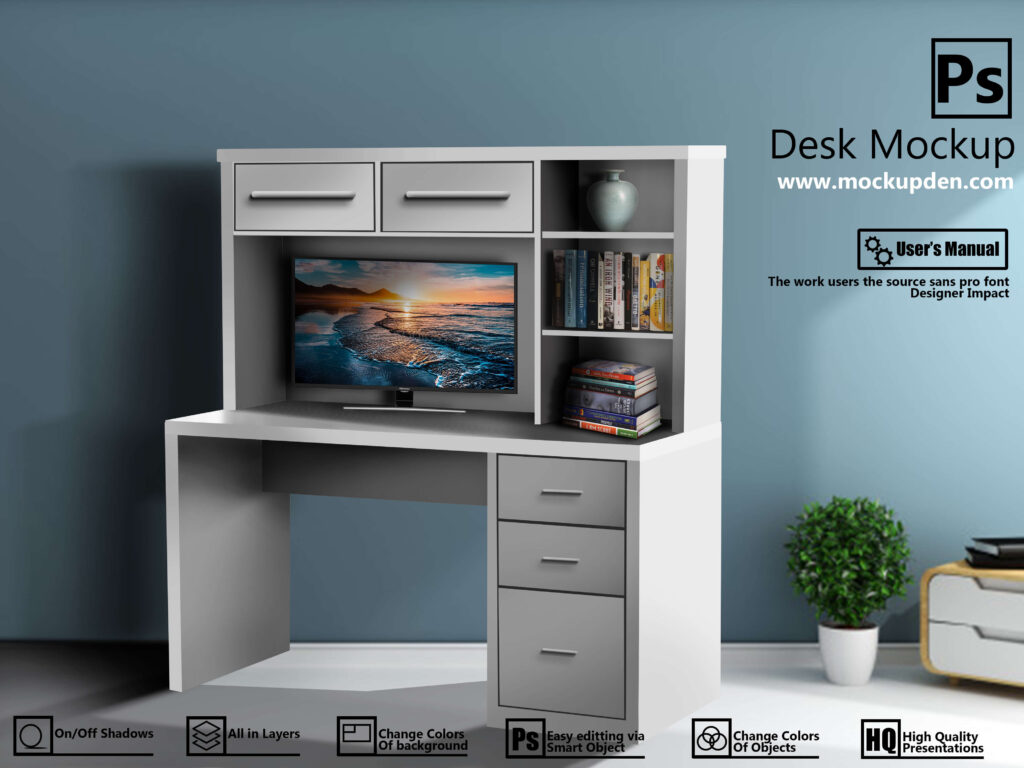 Free Customizable Desk Mockup PSD Template