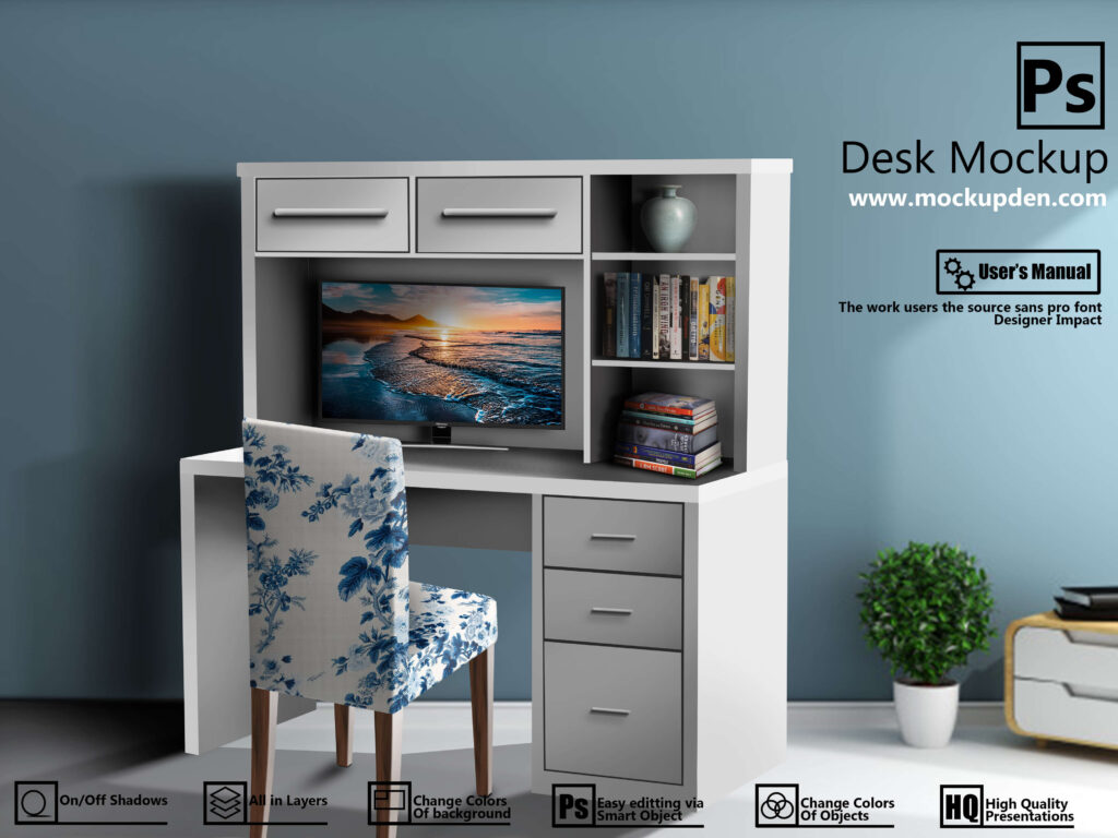 Free Customizable Desk Mockup PSD