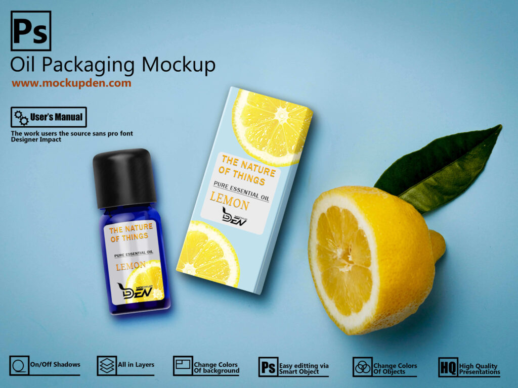 Free Blue Oil Packaging Mockup Design | PSD Template 1