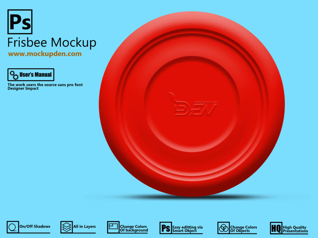 Free Red Frisbee Mockup PSD Template