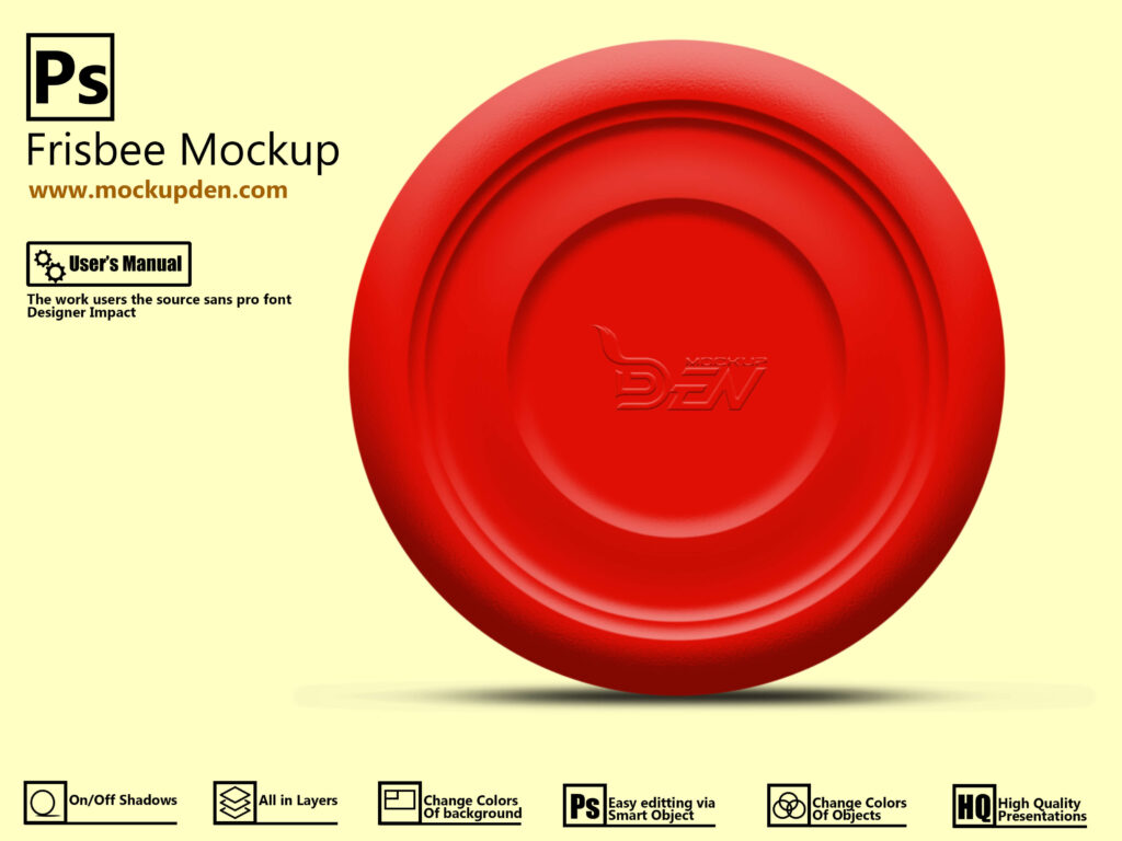 Free Red Frisbee Mockup PSD Template Design