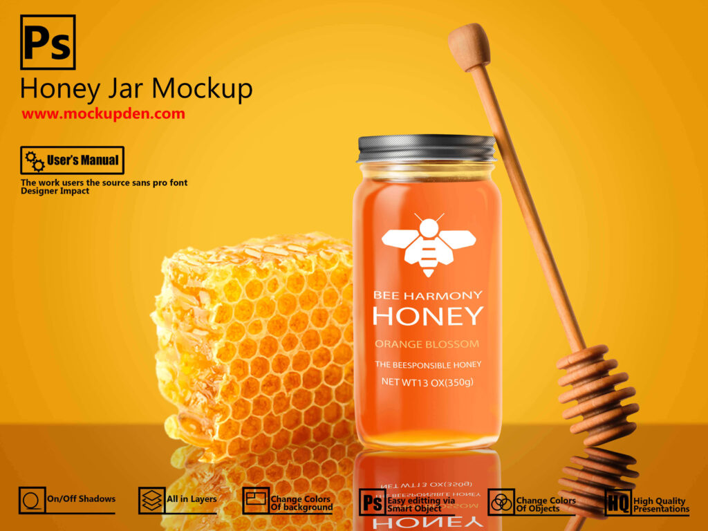 Free Attractive Honey Jar Mockup | PSD Template