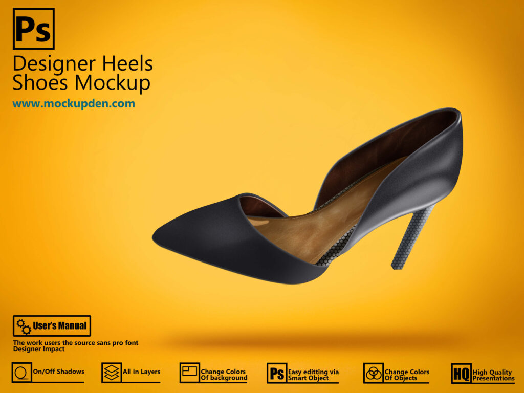 Free Multiple PSD Designer Heels Shoes Mockup PSD