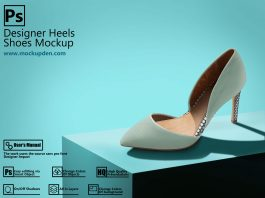 Free Multiple PSD Designer Heels Shoes Mockup