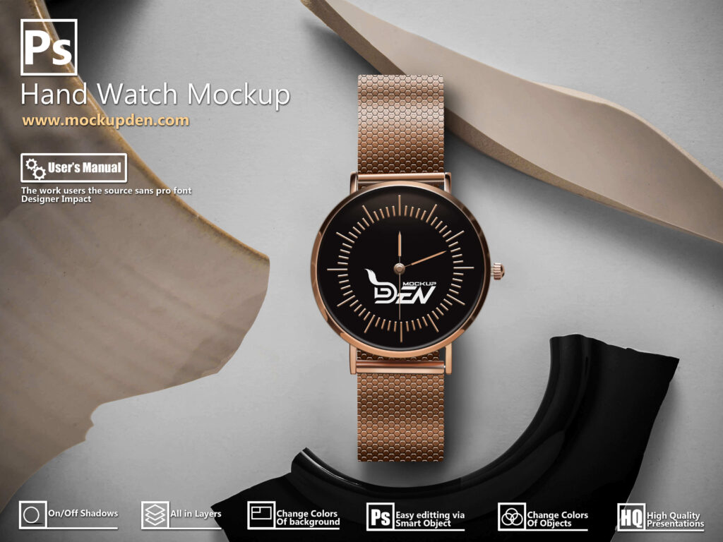 Free Golden Hand Watch Mockup PSD Design Template