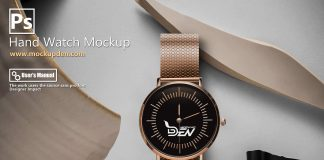 Free Golden Hand Watch Mockup