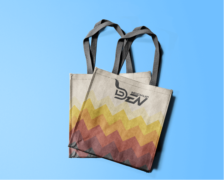 Free Two Colorful Tote Bag Mockup | PSD Template