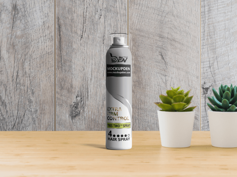 Free Slim Hair Spray Bottle Mockup | PSD Template
