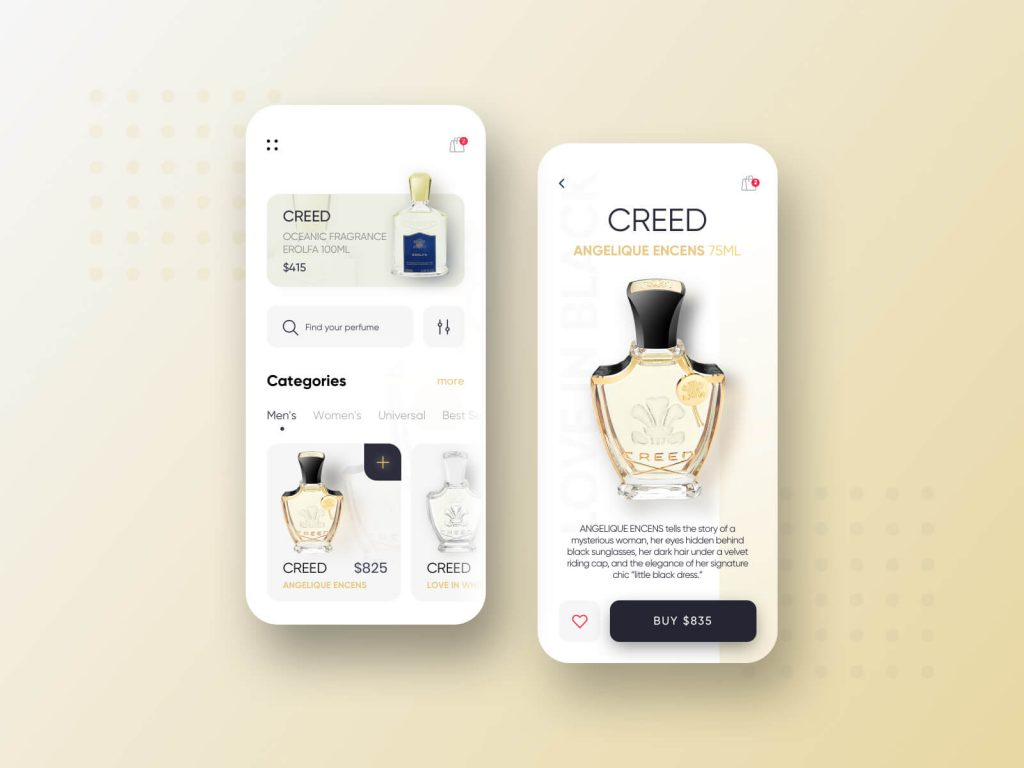 Free Perfume Shopping App Homescreen