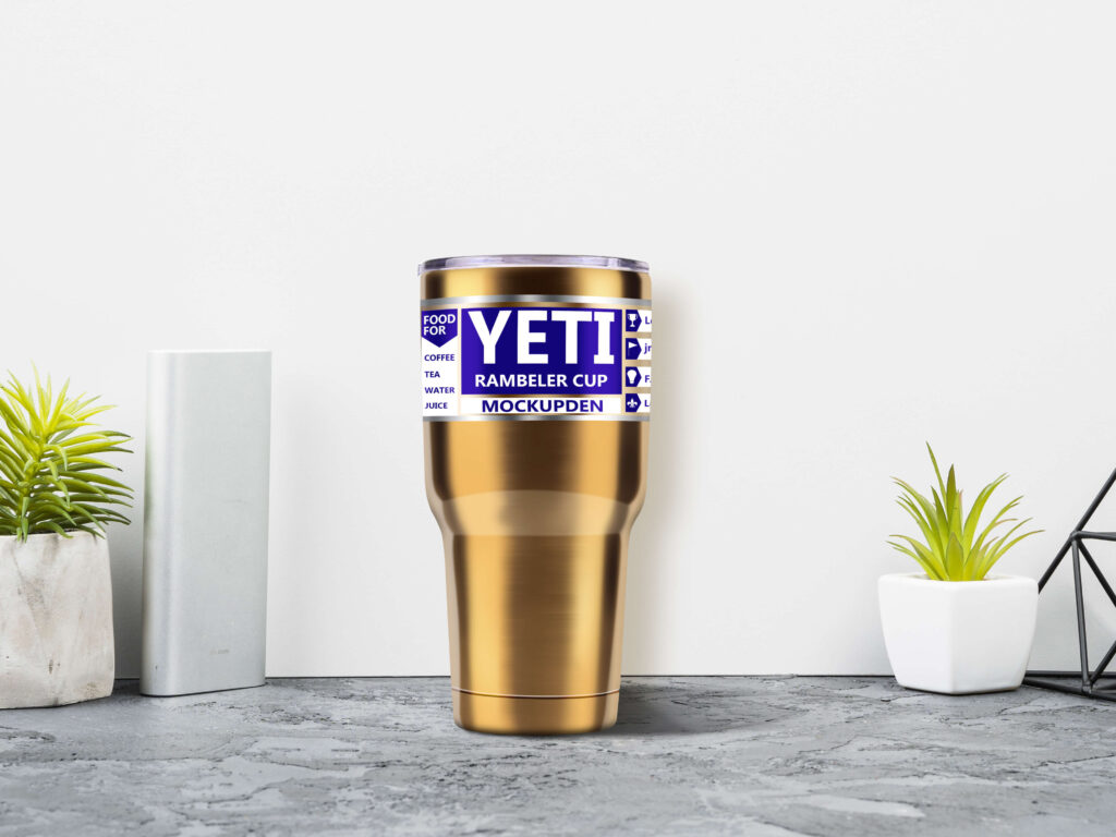 Free Golden Yeti Cup Mockup | PSD Template