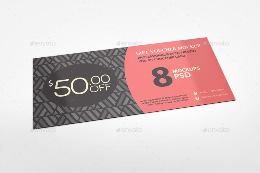 Black Pattern Print Voucher Mockup