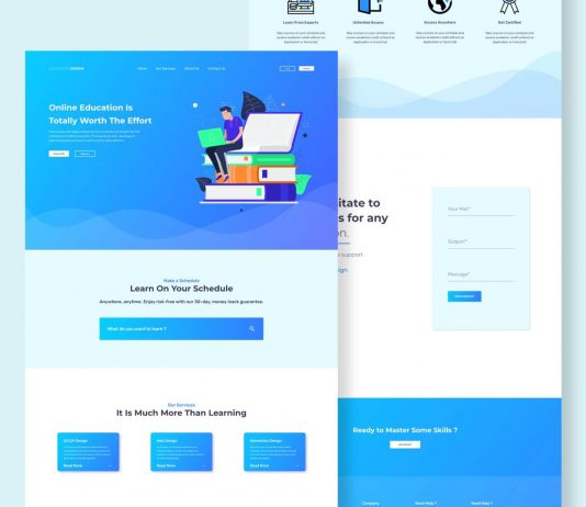 Free Online Education Landing Page Scene