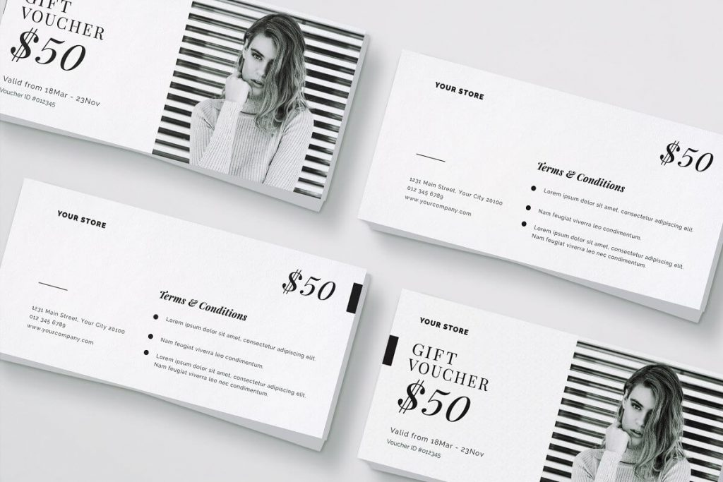 Black And White Color Girl Model Print Voucher Template