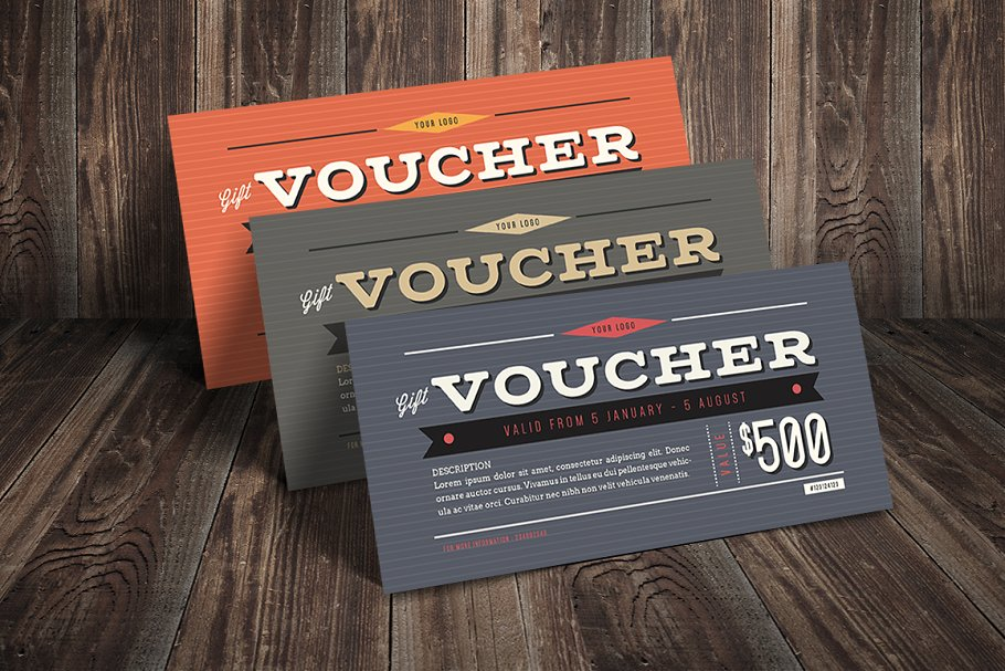 Tri-Color Gift Voucher Mockup
