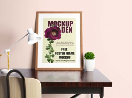 Free Potrait Poster On Study Table Mockup