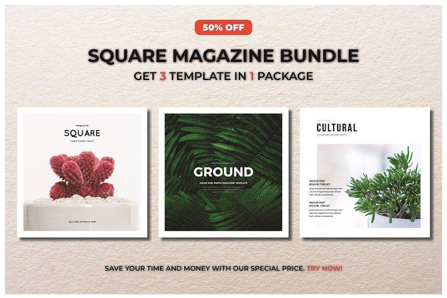 Minimal square Design Magazine PSD File