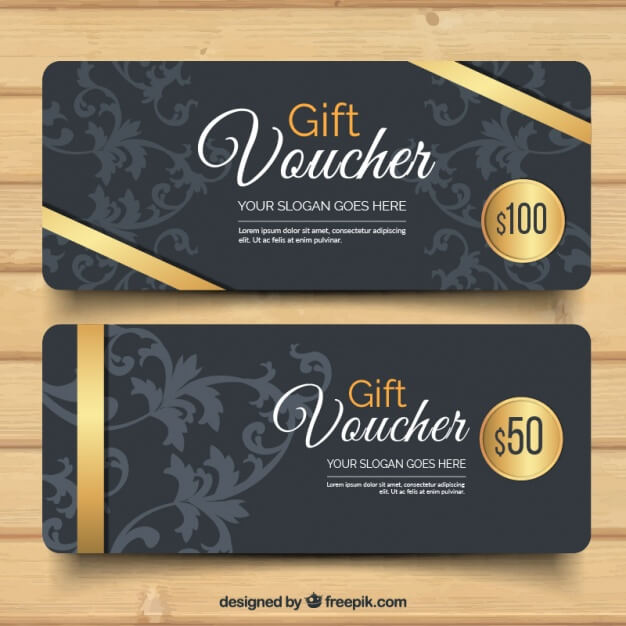 Dark Floral Print Two Gift Card Voucher Vector File