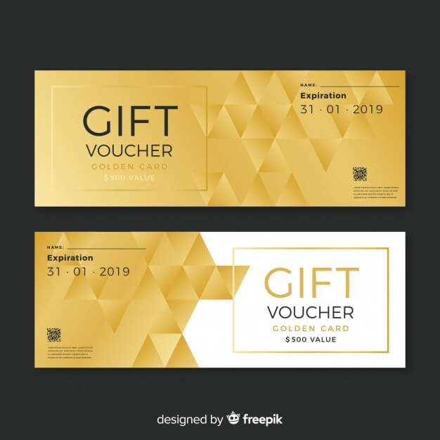 Golden Pattern Printed Gift Voucher Mockup