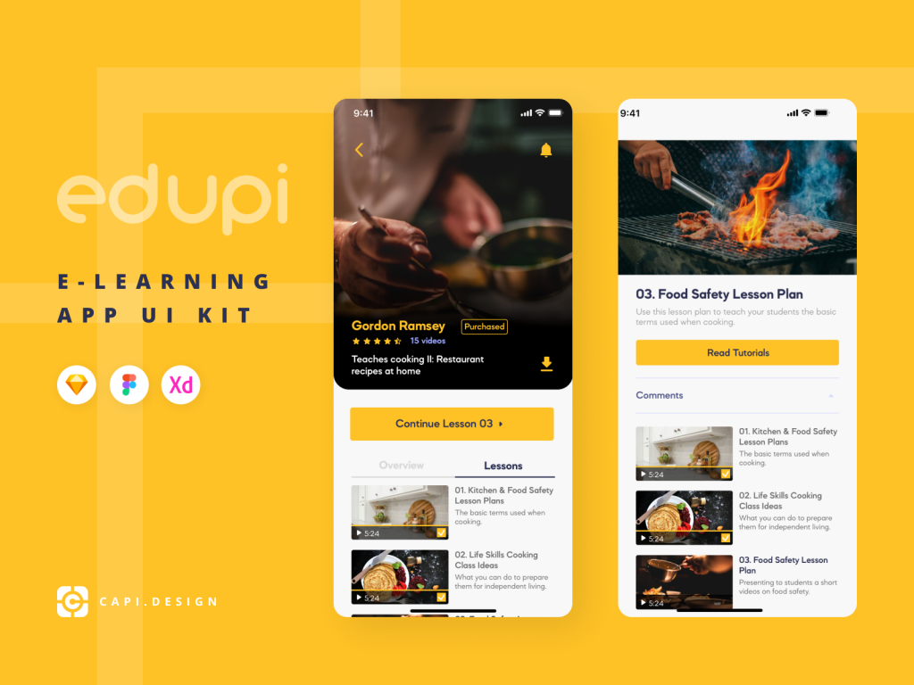 Free E-learning App Edupi Ui/Ux Kit 1