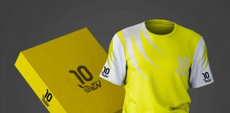 Free Neon Color Stripes Printed Jersey Mockup