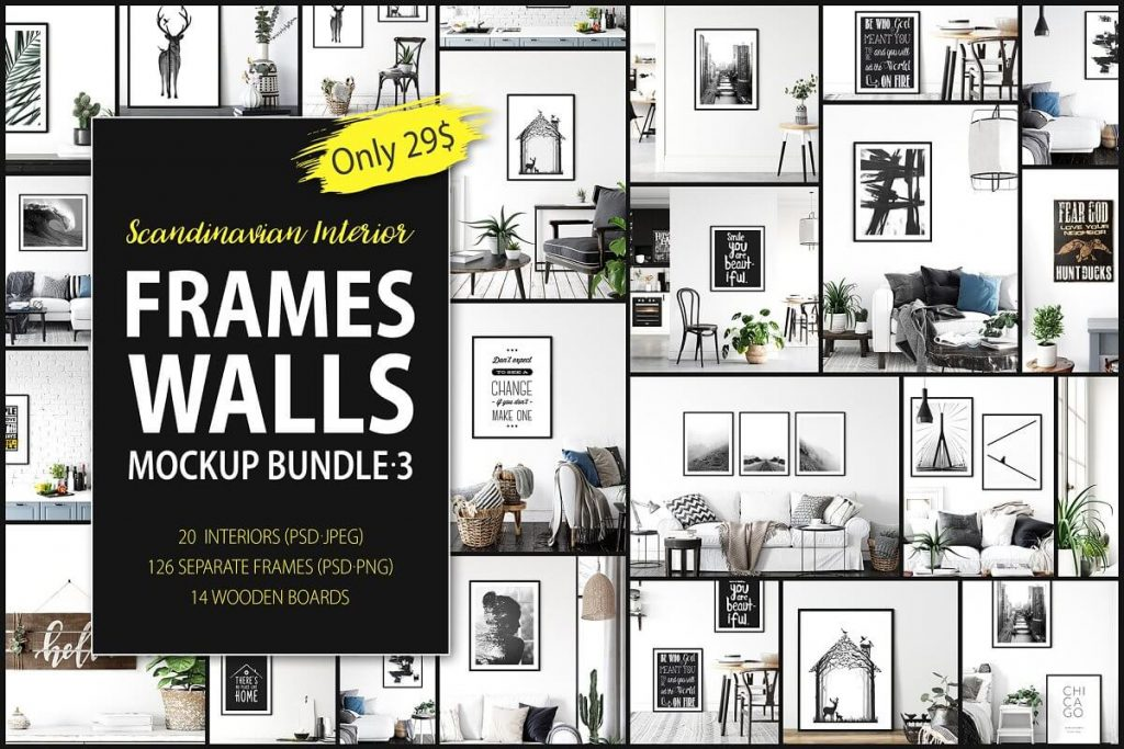 25+ Artistic Free Wall Frame Mockup for Beautiful Home Decoration Presentation 12