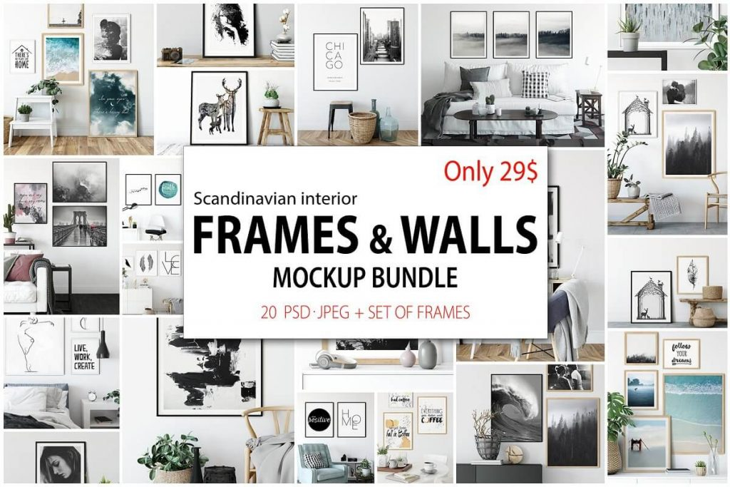 25+ Artistic Free Wall Frame Mockup for Beautiful Home Decoration Presentation 11