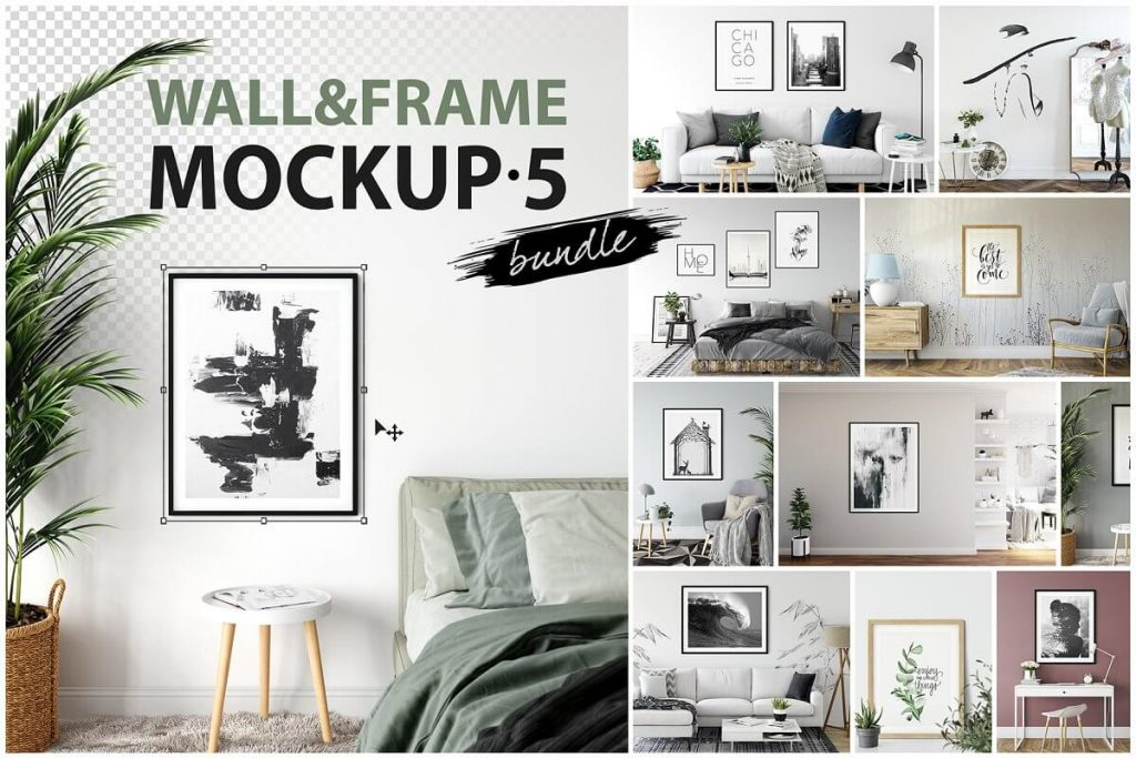 25+ Artistic Free Wall Frame Mockup for Beautiful Home Decoration Presentation 13