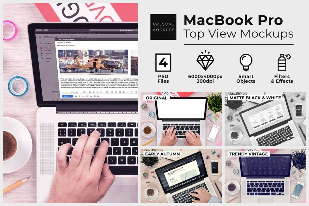 A Man Typing on MacBook Mockup
