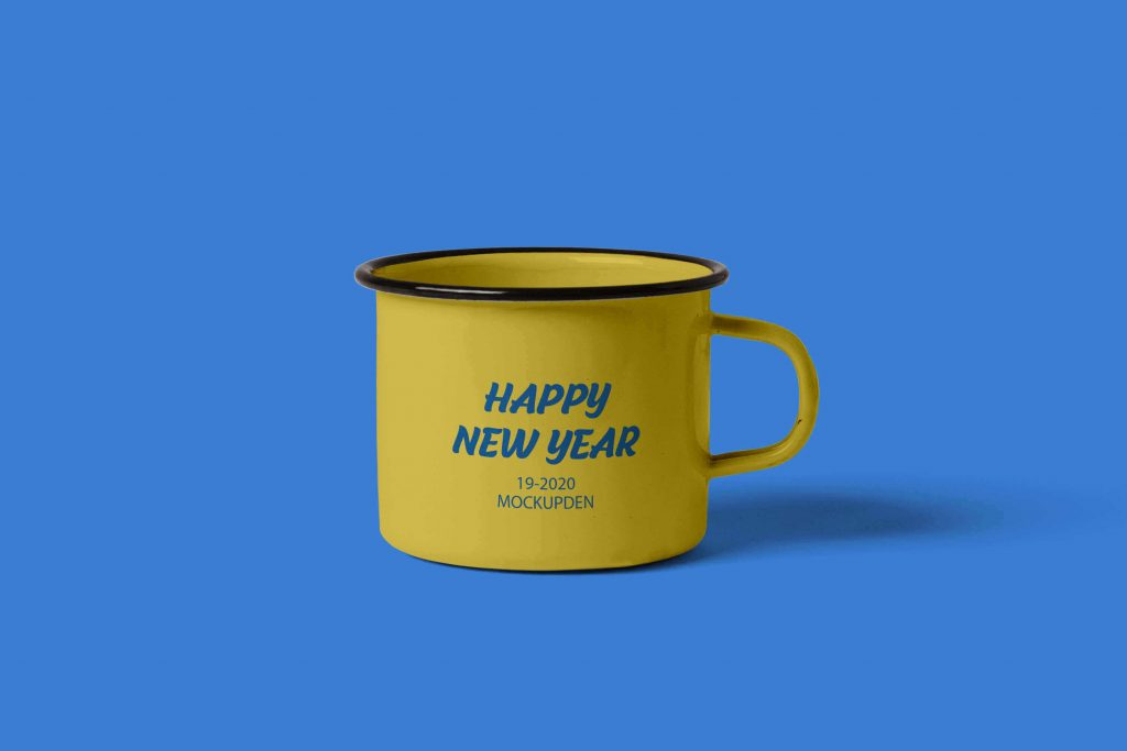 Free New Year Coffee Cup Mockup Design 1