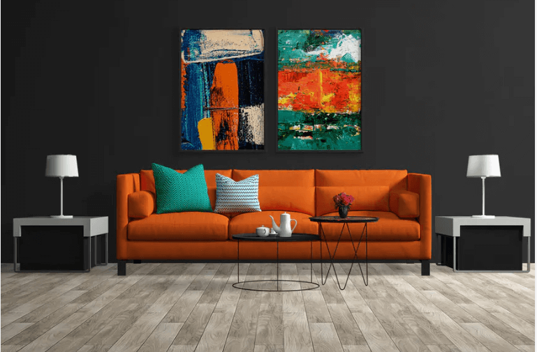 Room Interior Scene With Canvas Placed On Wall