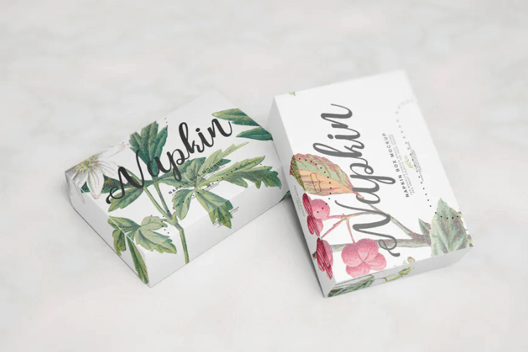Two Floral Print Napkin Box Mockup