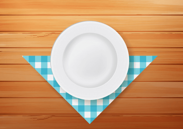 Napkin Placed Below Plate Vector File Illustration