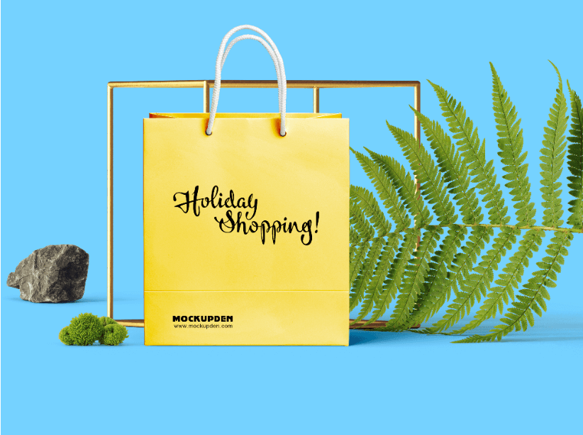 Free Yellow Holiday Sale Shopping Bag Mockup 1
