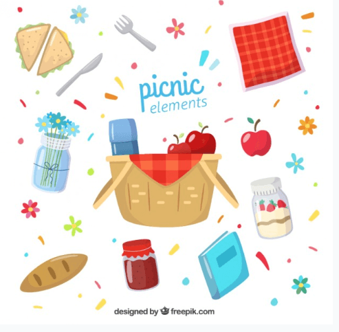 Picnic Elements With Napkin Vector File Ilustration