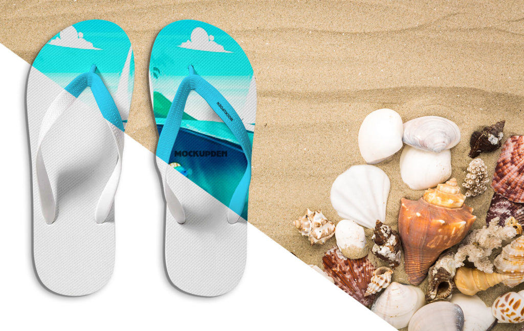 Free Flipflop Kept On Sea Beach Mockup Design
