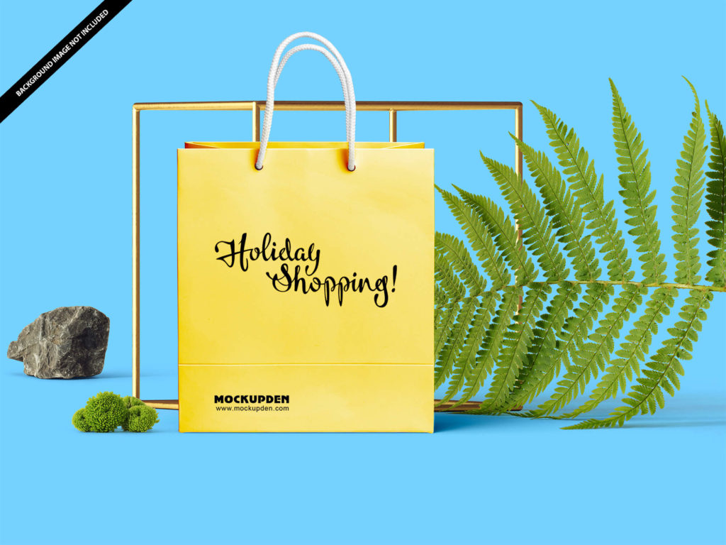 Free Yellow Holiday Sale Shopping Bag Mockup
