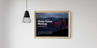 Free Golden Photo Frame Mockup