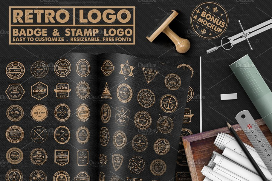Retro Style Stamp And Badge Mockup