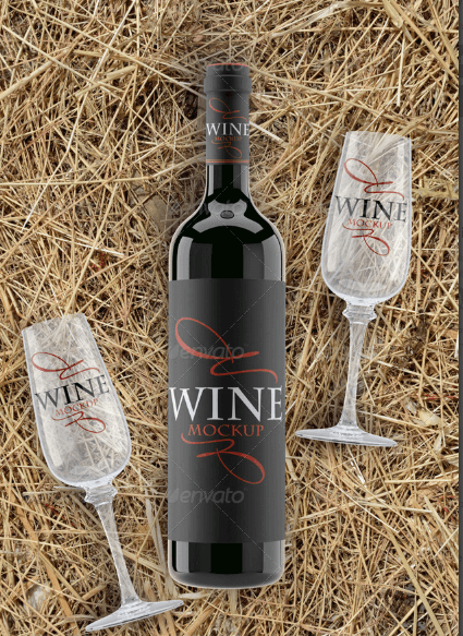 Wine Bottle and Glass on the Vintage Straw Mockup