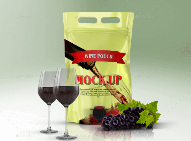 Wine Glass with Pouch PSD Mockup