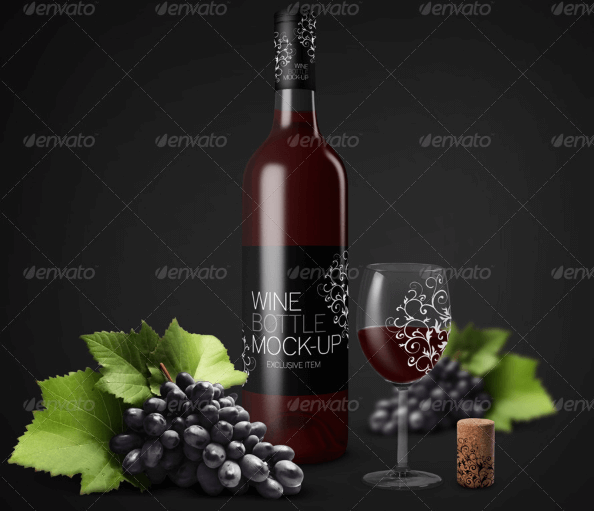 Wine Bottle Eith Wine Glass And Some Grapes PSD Mockup