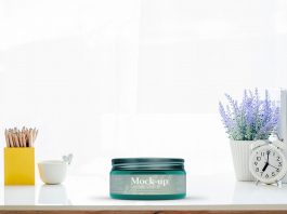 Free Glass Cosmetic Jar Mockup PSD Template