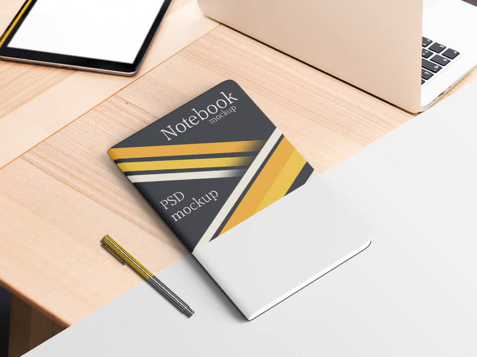 Free Top View Notebook Mockup PSD Template