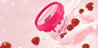 Free Strawberry Ice Cream Jar Mockup Psd Template