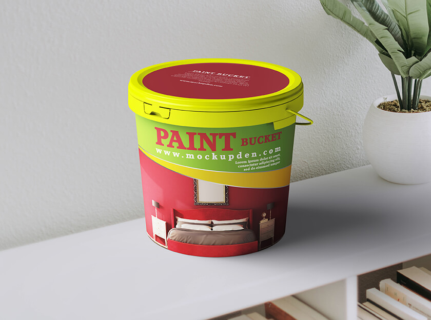 Free Paint Bucket Mockup PSD Template