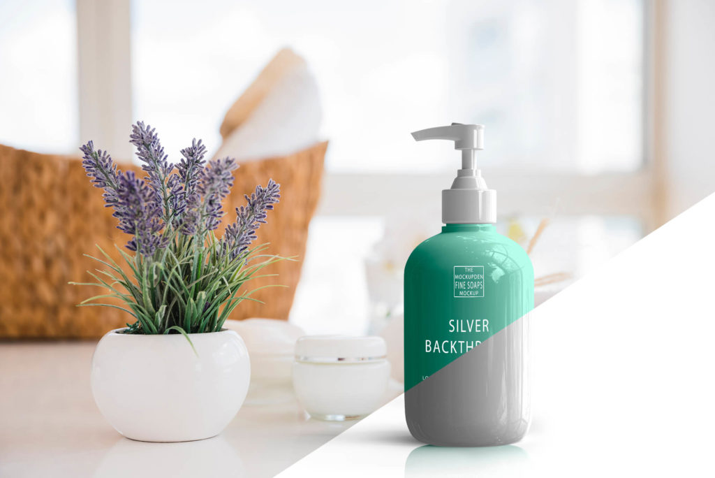 Free Hand Wash Bottle Mockup PSD Template