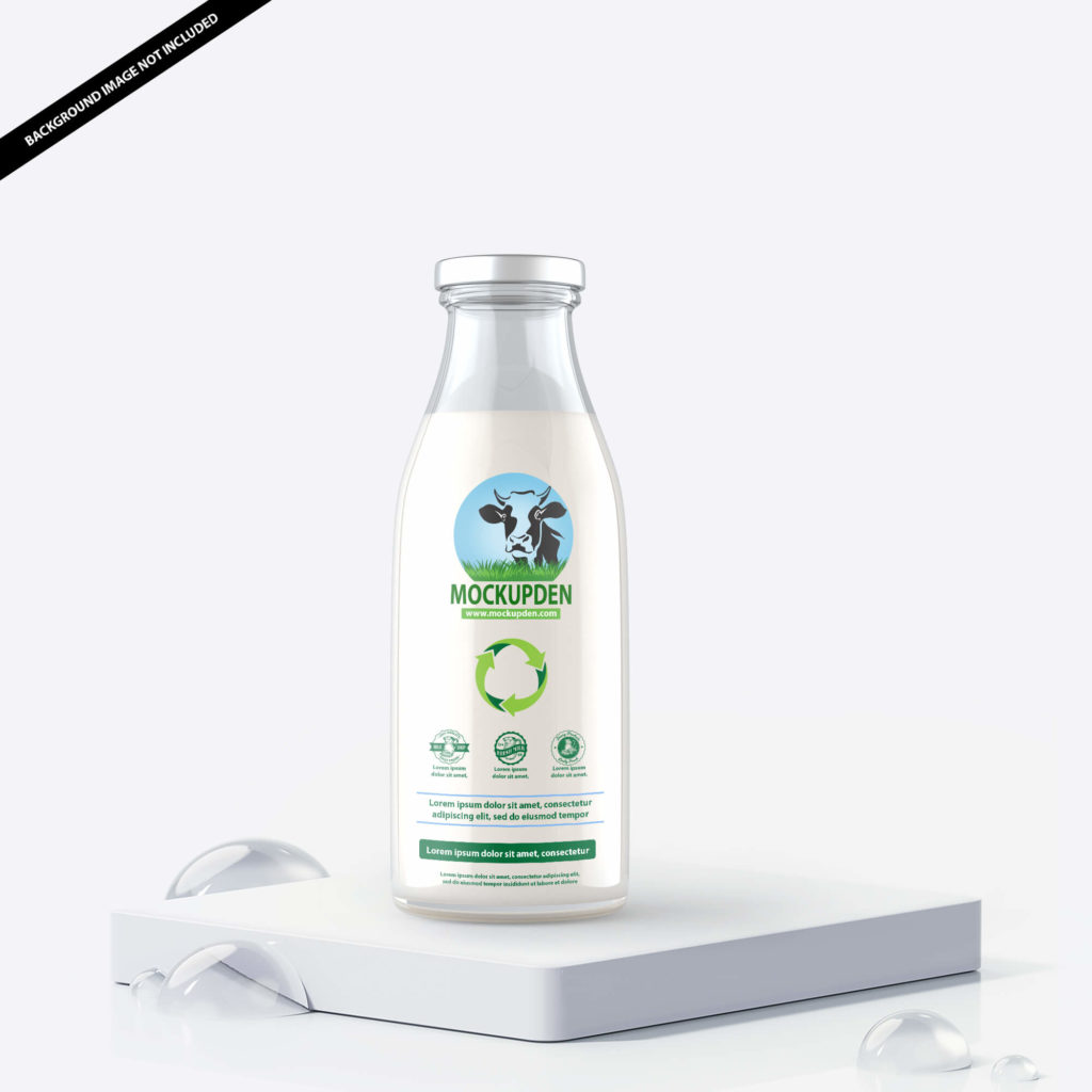 Free Milk Bottle Mockup PSD Template