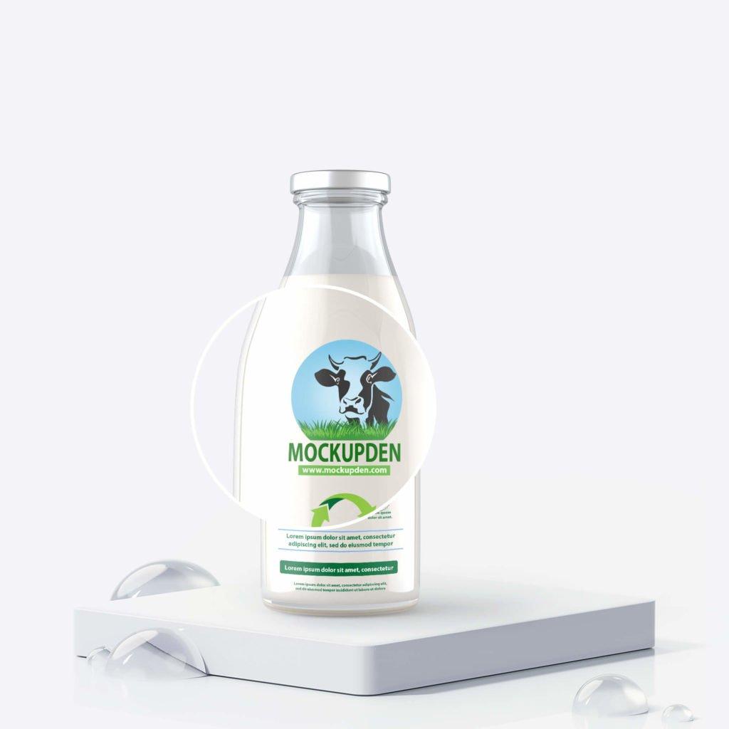 Free Milk Bottle Mockup PSD Template