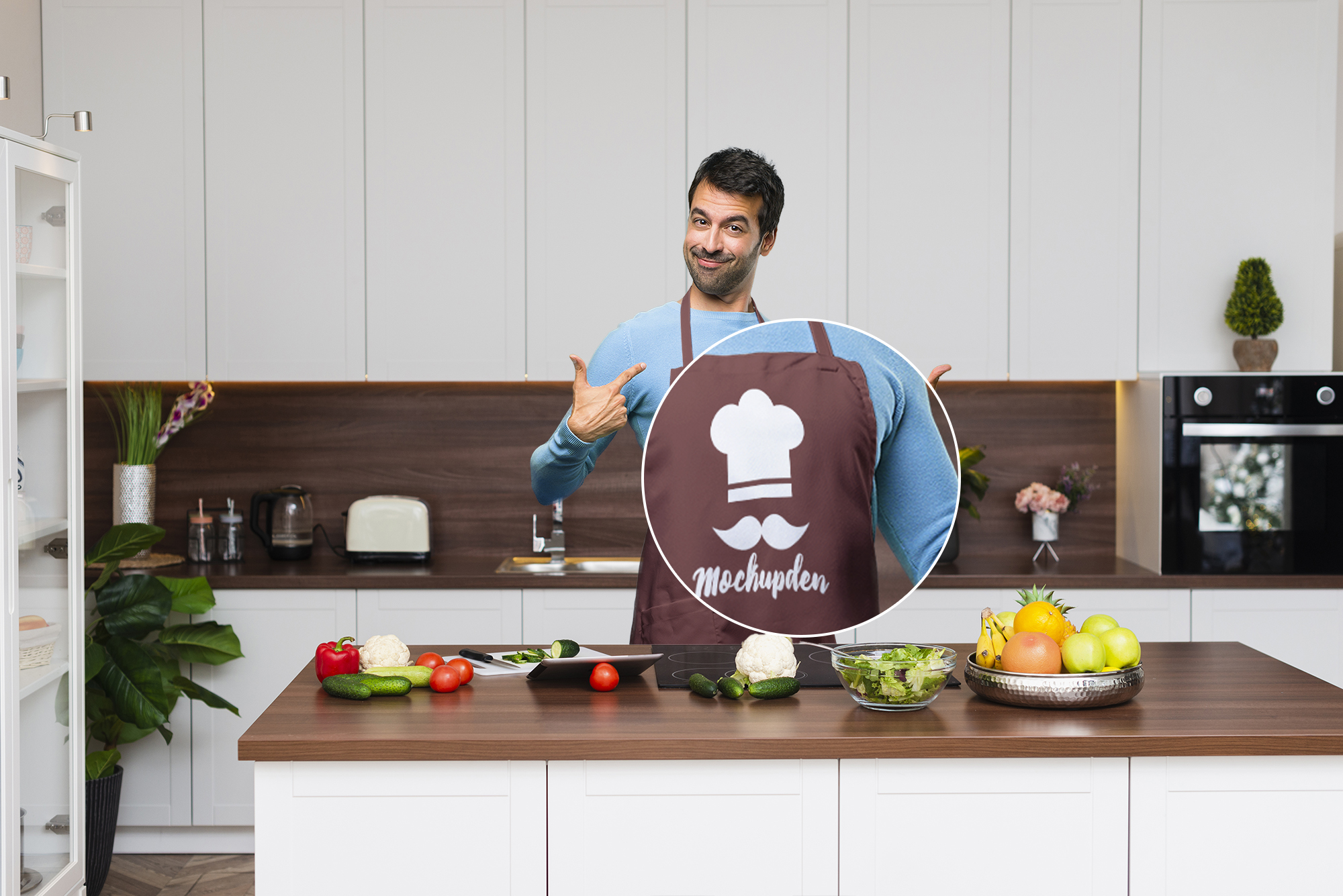 Person Wearing Apron Mockup PSD Template
